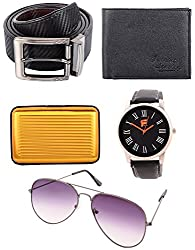 FSM Facinate Men's Combo of Wallet, Belt, Watch, Sunglass and Card Holder (Multicolor)