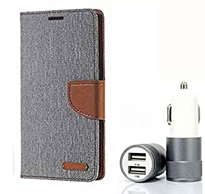 Aart Fancy Wallet Dairy Jeans Flip Case Cover for SamsungA5 (Grey) + Dual USB Port Car Charger with Smartest & Fastest Technology by Aart Store.