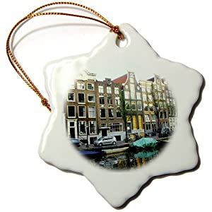 3dRose orn_38332_1 Not One House Resembles Another on This Stroll Through The Streets of Amsterdam-Snowflake Ornament, Porcelain, 3-Inch
