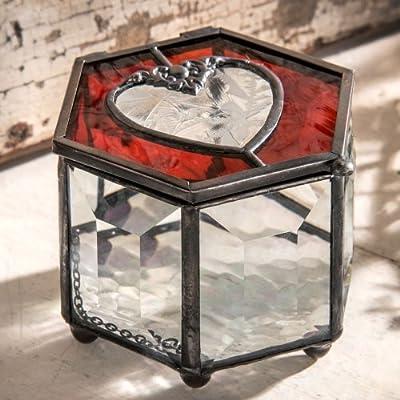 Valentines Day Box by J Devlin - 3x2 Red Heart Box - Keepsake/storage/jewelry Box