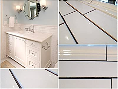 "White Porcelain Subway Tile Gloss Finish 2"" X 8 1/2"" (Box of 10 Sqft), Wall Tile, Backsplash Tile, Bathroom Tile, Vogue Brand Designed in Italy"