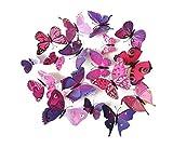 DESIGN FREUNDE 12 Selbstklebende 3D Schmetterlinge Spiegel Dekoration Wandtattoo Wanddeko