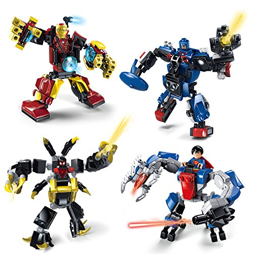 4set/lot Superheroes From Marvel and DCweapons Armored combat vehicle IRON MAN CAPTAIN AMERICA SUPERMAN MILES MORALES Building Compatible Legoeing