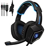 Sades SPIRITWOLF 3.5mm Version PC Over-Ear Stereo Gaming Headset Headband Headphones with Mic, Noise Reduction, Volume Control, LED Light For Computer Gamers(Black Blue)