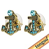 TOOGOO(R) Antique Blue Pattern Bronze Rhinestone Paved Nautical Anchor Stud Earrings