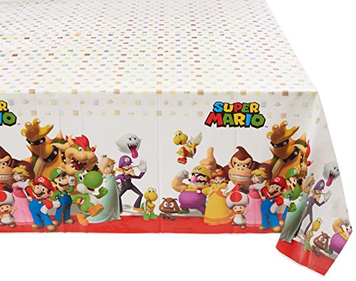 Amscan 571554- Copritavola in plastica in tema Super Mario, 1,2x 1,8m