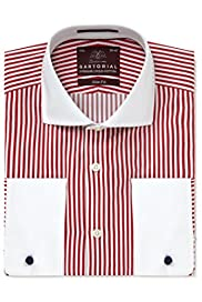 Sartorial Pure Egyptian Cotton Slim Fit Satin Bengal Bold Striped Shirt [T11-4391S-S]