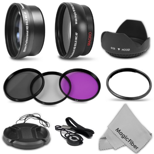 Essential Kit For Canon Powershot Sx40 Hs Sx30 Sx20 Is - Includes: Lens Adapter + 2.2X Telephoto And 0.43X Wide Angle High Definition Lenses + Filter Kit (Uv, Cpl, Fld) + Tulip Lens Hood + Center Pinch Lens Cap + Magicfiber Microfiber