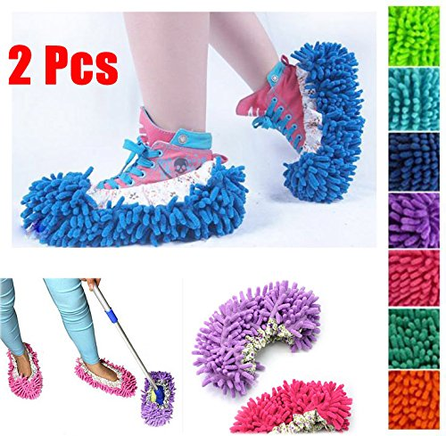 Easygoby 2 X Mop Slipper Housekeeper Floor Polishing Cover Cleaner Dusting Cleaning Foot Shoe
