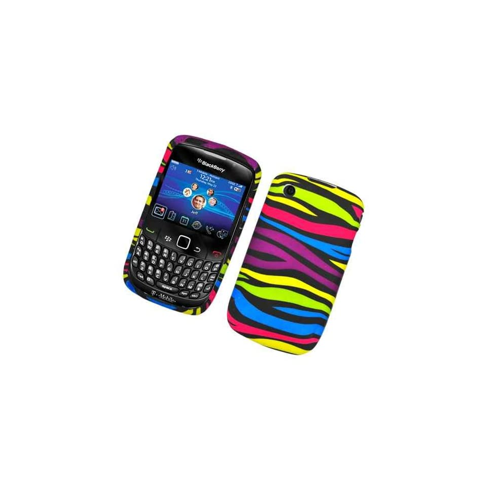 Black Rainbow Color Zebra Soft Silicone Skin Gel Cover Case for Blackberry Curve 3G 8520 / 8530 / 9300 + Microfiber Bag