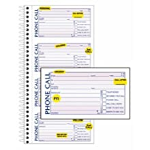 Adams Phone Message Book with Labels, 5.25 x 11 Inch, Spiral Bound, 2-Part, Carbonless, 4 Messages per Page, 400 Sets, White and Canary (S1154L)