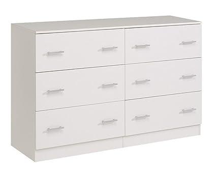 Commode 6 tiroirs coloris blanc, H 87.5 x L 151 x P 44 cm -PEGANE-