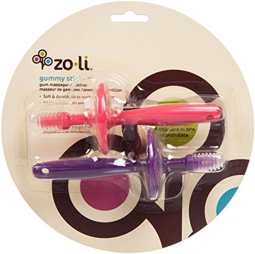 Zoli Gummy Sticks Baby Gum Massagers, Pink/Purple - 1