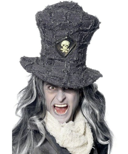Smiffy's Men's Gravedigger Top Hat with Skull Emblem On Display Card, Grey, One Size - 1