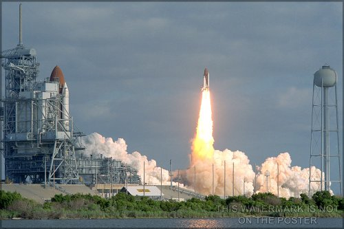 """Space Shuttle Discovery Carrying The Hubble Space Telescope - 24""""X36"""" Poster"""