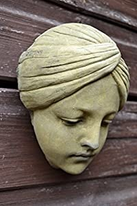 Art Deco style girl face wall plaque from Brighthelm-stone