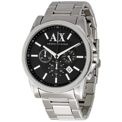 Armani Exchange Men's AX2084 Silver Stainless-Steel Quartz Watch with Black Dial