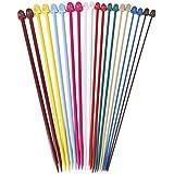 Set of 20Pcs 2.0-6.5mm Plastic Knitting Needles Single Pointed Needles 10 Marked Sizes---Multicolor