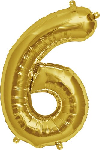 16 inch Number 6 - Gold Air-Filled Foil Balloon