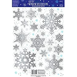 Amscan Winter Wonderland Christmas Party Snowflake Glitter Vinyl Window Decoration, Silver