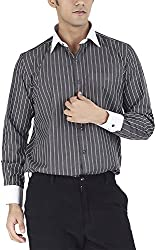 Silkina Men's Regular Fit Shirt (FSUPY1FBK, Black Stripe, 38)