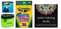 Crayola 36 Count Long Colored Pencils (68-4036) + Adult Coloring Book + Prismacolor Scholar Colored Pencil Sharpener (1774266) & Scholar Eraser (1774265) ... (36 Count)