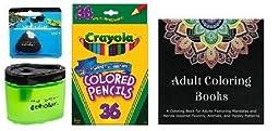 Crayola 36 Count Long Colored Pencils (68-4036) + Adult Coloring Book + Prismacolor Scholar Colored Pencil Sharpener (1774266) & Scholar Eraser (1774265) ... (36 Count)