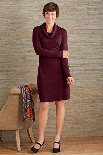 Fair Indigo Organic Pima Cotton Cowl Neck Dress