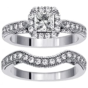 2.00 CT TW Halo Designer Princess Cut Diamond Engagement Bridal Set in 14k White Gold - Size 7.5