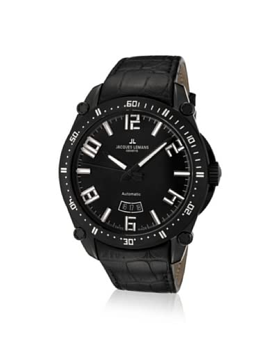 Jacques Lemans Men's GU333C Geneve Black Leather Watch