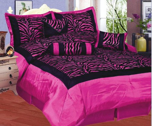 High quality cal king faux silk and flocking black pink - Hot pink and purple bedding ...