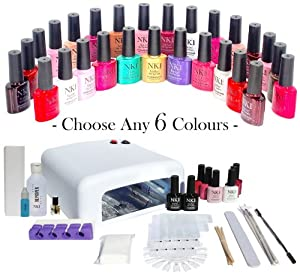 NK1 Gel Nails UV/LED Professional Pick&Mix YouChoose 6. Full Starter Kit with 36W UV Lamp, All Accessories Included plus 10 CND Shellac Wraps, CND Solar Oil, NK1 Prep&Shine mini, 100ml Acetone Remover with ANY 6 COLOURS OF YOUR CHOICE plus TOP&BASE COATS
