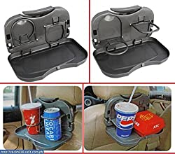 Autocarwinner Car Backseat Food Tray With Bottle Cup Holder (Grey Or Black Color)