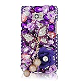 Mavis's Diary 3D Handmade Luxury Bling Crystal Butterfly Flowers Pearl Pendant Diamond Rhinestone Design Hard Cover Case with Soft Clean Cloth for Samsung Galaxy S2 i9100 Galaxy S 2 II Plus I9105 International Version (Purple Rhinestone Case)