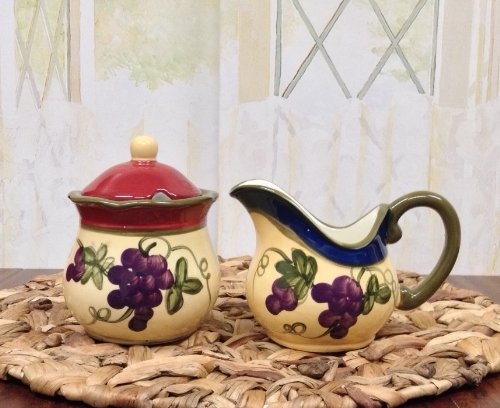 Tuscany Garden Collection, Ceramic Grapes Sugar & Creamer Set Of 2Pcs, 84032 By Ack