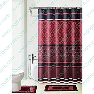 Amazon.com - Burgundy/black/red 4-piece Bathroom Set: 2-rugs/mats ...
