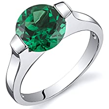 buy Bezel Set 1.75 Carats Simulated Emerald Engagement Ring In Sterling Silver Rhodium Nickel Finish Size 8