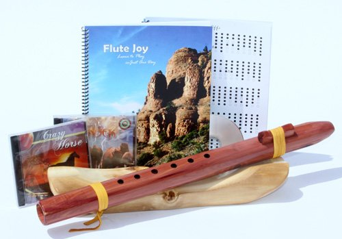 E Cedar Native American Style Wood Flute + Book + 3 CD's (Retail Value $195.00)