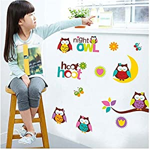 SunHug(TM) Cartoon Owls Wall Stickers for Kids Rooms Art Wall Decals Mural DIY Wallpaper Home Decoration pegatinas vinilos infantiles by SunHug