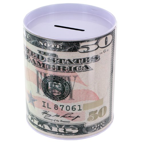 Metal Money Coin Bank - $50 Bill - 1