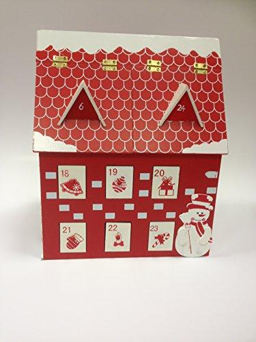 Adventskalender Holzhaus zum Selbstbefüllen 2 Klappfächer und 22 Schubladen Weihnachten thumbnail