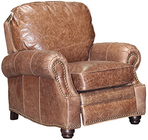Barcalounger Longhorn II Leather Recliner Havana Brown Top Grain Leather Chair with Espresso Wood Legs - Standard Ground Curbside Delivery in Lower 48 States Only (Espresso Leather Recliner compare prices)
