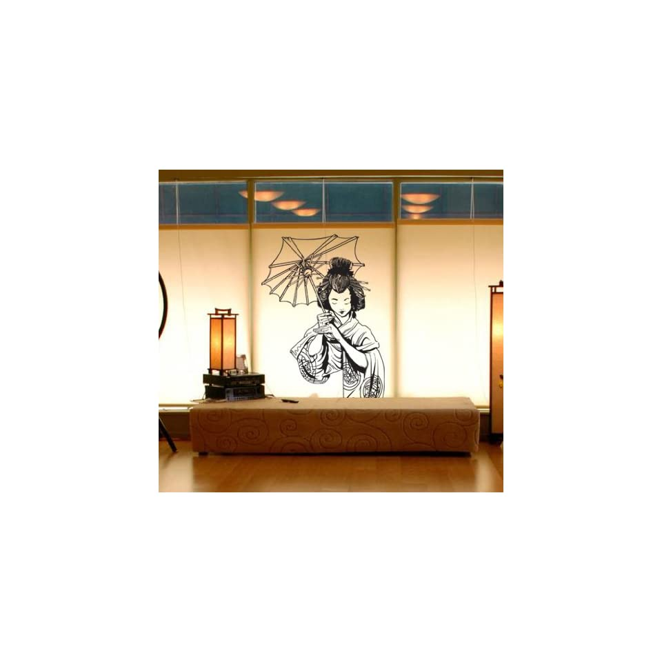Stickerbrand Asian Décor Vinyl Wall Art Japanese Geisha Wall Decal Sticker   Multiple Colors Available, 32 x 20. Easy to Apply & Removable.