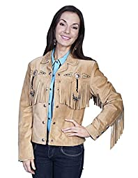 Scully Women\'s Suede Fringe And Beaded Jacket Rust Medium