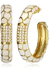 """CZ by Kenneth Jay Lane """"Trend Collection"""" Gold-Plated, Cubic Zirconia, and White Enamel Hoop Earrings, 3 CTTW"""