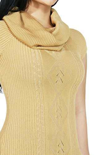 Womens Cozy Knitted Turtleneck Sweater Top (MEDIUM, CAMEL-5366)