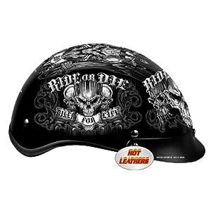 Hot Leathers DOT Approved Biker for Life Helmet (Black, X-Large)