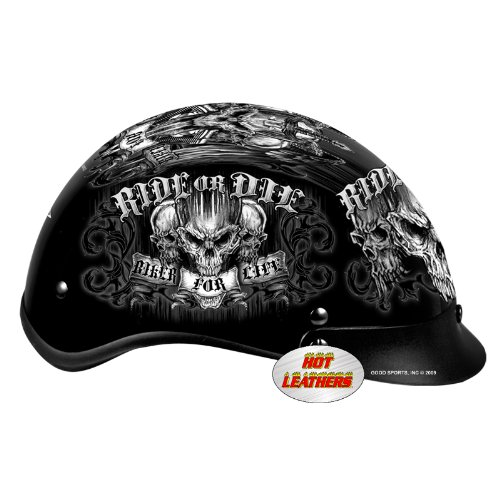 Hot Leathers DOT Approved Biker for Life Helmet (Black, Small)