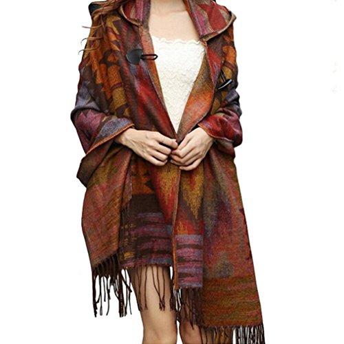 Donne Lady Vintage mantello incappucciato del Capo boemo con frange dello scialle,Familizo (arancia)