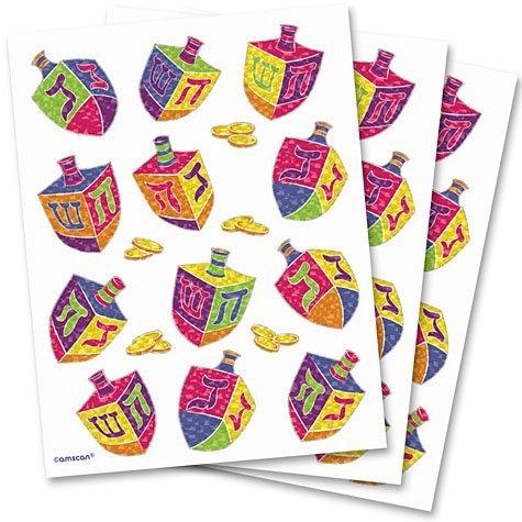 Amscan Hanukkah Dreidels Sheet Stickers Prismatic Paper, Multicolor - 1